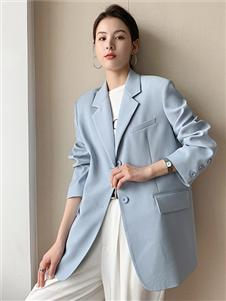 珂希莉浅蓝色气质西服外套