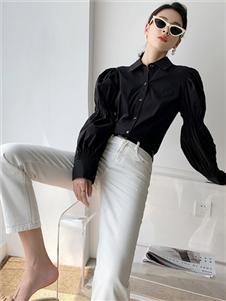 珂希莉新款黑色衬衫