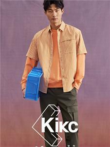 KIKC橙色条纹衬衫