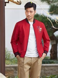 百斯盾红色时尚外套