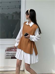 桔尚女装21春针织连衣裙两件套