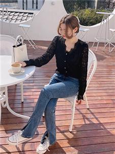 桔尚女装桔尚女装21春黑色蕾丝衬衫