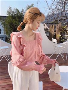 桔尚女装桔尚女装21春粉色甜美衬衫