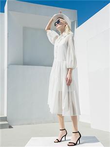 例格女装例格女装21夏泡泡袖连衣裙