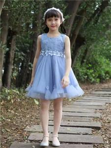 宾果童话童装宾果童话蓝色无袖连衣裙