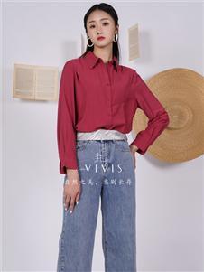薇薇希女装红色衬衫