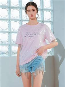 金蝶茜妮新款粉色T恤