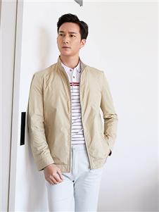 富绅男装新款米色夹克