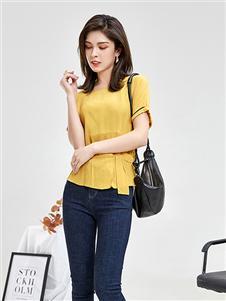 惠之良品女装夏黄色上衣