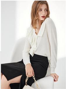 丽芮女装白色V领唯美衬衫