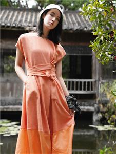 底色女装底色橘色时尚连衣裙