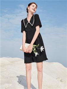 2021春美多夏季新款黑色连衣裙