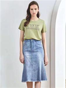 2021夺宝奇兵夏装新款牛仔半身裙