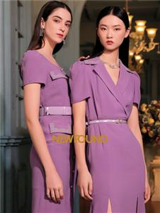 纽方女装2021纽方夏季新款紫色连衣裙