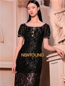 纽方女装2021纽方夏季新款蕾丝黑色连衣裙