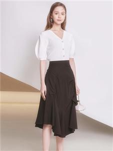 2021凡恩夏装新款黑色半身裙
