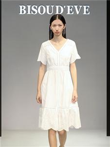 2021碧淑黛芙夏装新款白色连衣裙