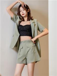 2021三弗国际时装夏装绿色套装