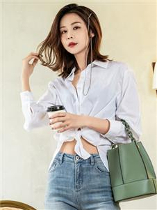 2021三弗国际时装夏装时尚白色衬衫