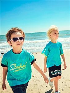 2021水孩儿夏装新款蓝色黄边T恤