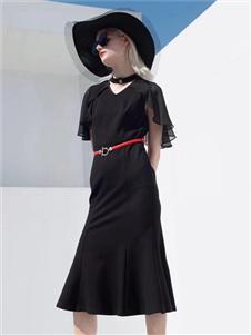 2021音菲梵女装夏装黑色连衣裙