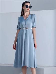 2021音菲梵女装夏装蓝色连衣裙