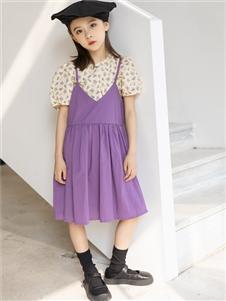 城秀童装2021城秀夏装新款紫色吊带裙