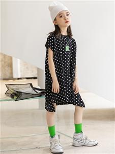 城秀童装2021城秀夏装新款斑点连衣裙
