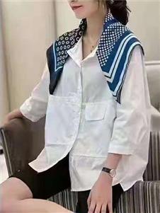 2021桔尚夏装7分袖衬衫