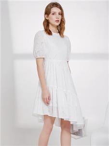 丽芮女装2021丽芮夏装白色连衣裙