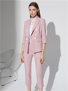 2021奥伦提夏装粉色西装套装
