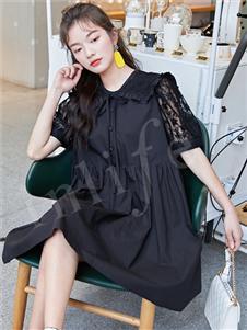 inlife伊纳芙新款黑色衬衫裙
