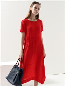 2021约布夏装红色连衣裙