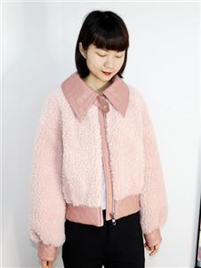 2021靓漫蒂秋冬新款粉色厚外套