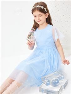 2021昕季雨夏装水蓝色纱裙