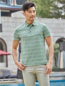 百斯盾新款条纹绿色POLO衫
