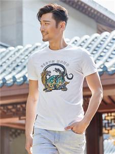 百斯盾新款圆领白色T恤