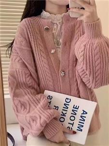 简诣2021秋装粉色针织衫