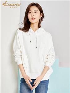 曼秀缤纷时尚白色卫衣