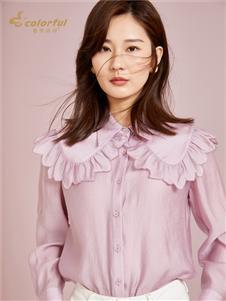 曼秀缤纷新款粉色雪纺衫