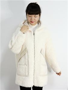 靓漫蒂女装2021靓漫蒂秋冬白色羊羔毛外套
