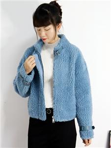2021靚漫蒂秋冬藍色羊羔毛外套