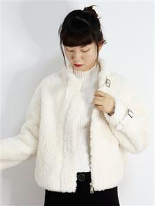 2021靚漫蒂秋冬白色羊羔毛外套