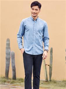 百斯盾新款蓝色衬衫