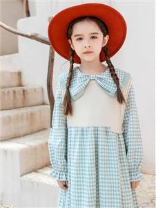 动漫童话女童新款格子连衣裙