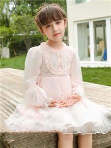 动漫童话女童新款粉色连衣裙