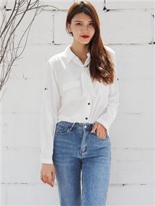 2021妍啦秋裝白色襯衫