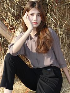 2021妍啦秋裝棕色襯衫