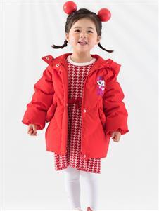 2021巴布豆秋冬红色羽绒服