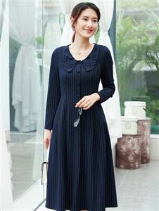 夢莎奴新款青色連衣裙